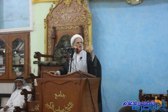 خطيب الجمعة في الناصرية : يدعو المواطنين الى الابتعاد عن منطق التسقيط والبحث عن الاصلح