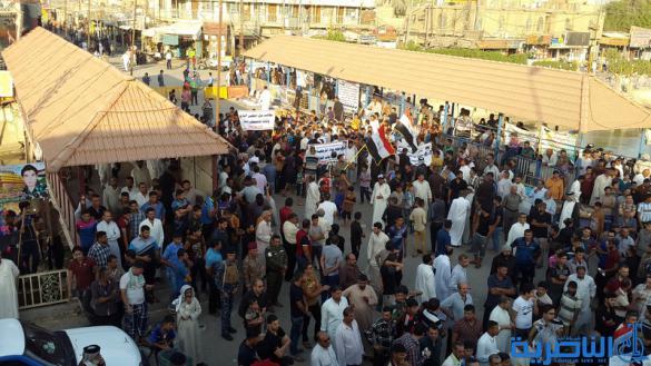 بالصور : المئات يتظاهرون في مدينة الشطرة للمطالبة بالخدمات واصلاح القضاء