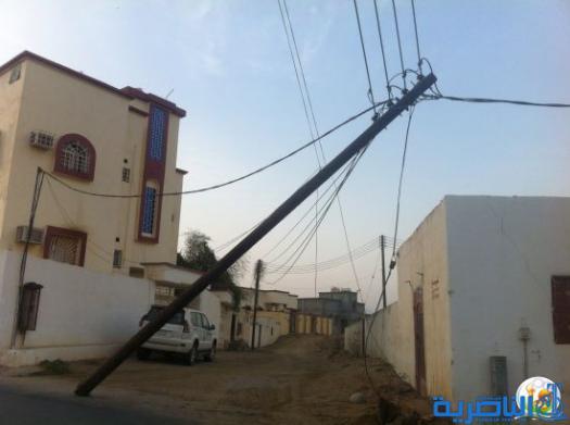 سقوط 90 عمود كهرباء نتيجة العواصف التي شهدتها ذي قار ليلة امس