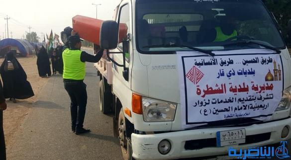 بلدية الشطرة تنظم حملة لتنظيف طريق الزائرين وتقدم خدماتها الى المواكب الحسينية