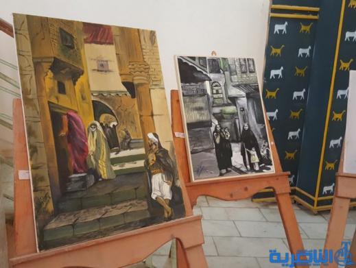 احتفاء بعيد المراة ، فنانات تشكيليات يقمن معرضا للرسم في سوق الشيوخ - تقرير مصور -