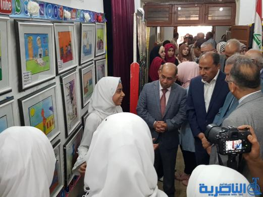 الناصري يفتتح معرض تربية ذي قار للرسم والخط العربي