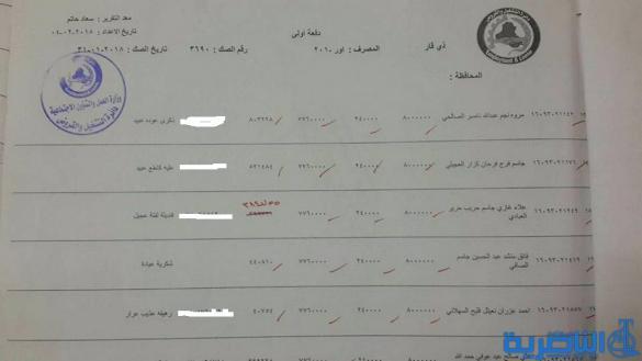 قوائم باسماء المقترضين من دائرة قسم عمل ذي قار