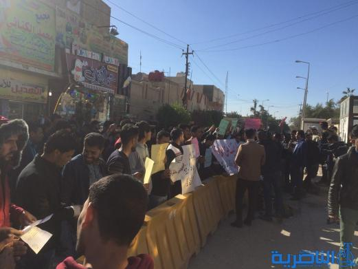 عشرات الخريجيين يتظاهرون في الناصرية للمطالبة بالتعيين - تقرير مصور -