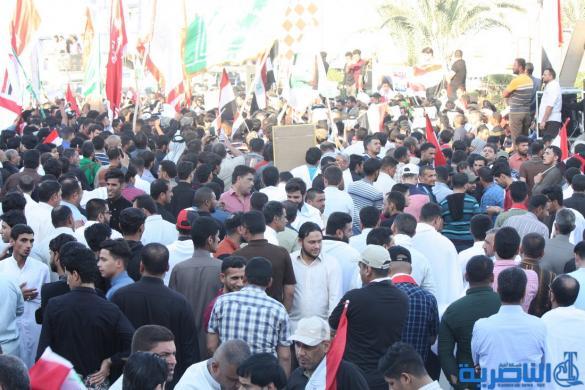 بالصور:الصدريون يتظاهرون وسط الناصرية تنديدا بتهديد الصدر
