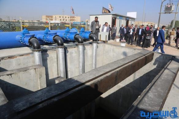 محافظ ذي قار يفتتح محطة تحويل مياه المجاري الى المصب العام لتقليل تلوث نهر الفرات
